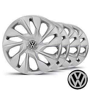 Jogo calotas esportivas Elitte Ds4 Silver Prata aro 15 emblema Volkswagen - Gol Parati Saveiro Voyage Polo Fox Golf - LC360
