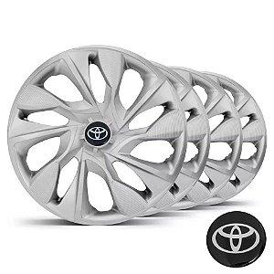 Jogo calotas esportivas Elitte Ds4 Silver Prata aro 15 emblema Toyota - Corolla Etios - LC360