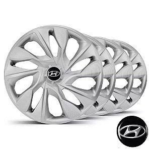 Jogo calotas esportivas Elitte Ds4 Silver Prata aro 15 emblema Hyundai - Hb20 Hb20s - LC360