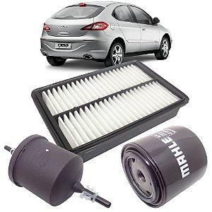 Kit filtros de ar, óleo e combustível - Chery Cielo 1.6 de 2010 até 2014