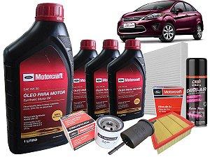 Kit manutenção preventiva troca de óleo Motorcraft 5W30 Ford New Fiesta Mexicano