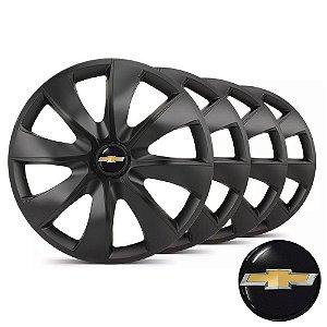 Jogo calotas esportivas Elitte Prime Fosc Black aro 13 emblema Chevrolet - Corsa Classic Celta Prisma - LC203