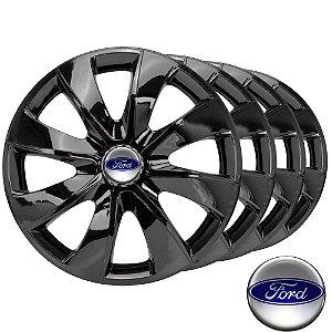 Jogo calotas esportivas Elitte Prime Black aro 13 emblema Ford - Fiesta Ka Escort Courier Focus Ecosport - LC202