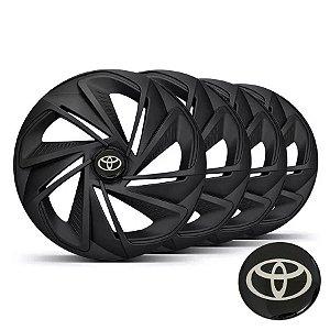 Jogo calotas esportivas Elitte Nitro Black Fosco aro 14 emblema Toyotta - Corolla E Etios Hatch Sedan - LC218