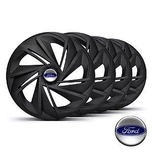 Jogo calotas esportivas Elitte Nitro Black Fosco aro 14 emblema Ford - Fiesta Ka Escort Focus Courier - LC218