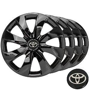 Jogo calotas esportivas Elitte Prime Black aro 14 emblema Toyota - Corolla E Etios Hatch Sedan - LC232