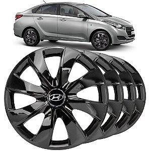 Jogo calotas esportivas Elitte Prime Black aro 14 emblema Hyundai - Hb20 Hb20s Hatch Sedan - LC232