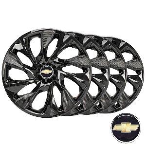 Jogo calotas esportivas Elitte Ds4 Black Preto aro 13 emblema Chevrolet - Corsa Celta Classic Prisma - LC302