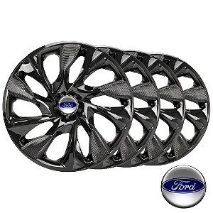 Jogo calotas esportivas Elitte Ds4 Black Preto aro 13 emblema Ford - Fiesta Ka Escort Courier Focus - LC302