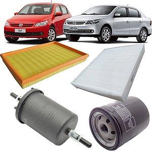 Kit revisão filtros ar óleo combustível ar condicionado VW Gol G5 1.0 e Voyage G5 1.0 - Total Flex