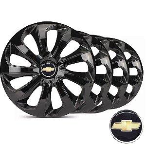 Jogo calotas esportivas Elitte Velox Black aro 15 emblema Chevrolet - Onix Prisma Agile Cobalt Montana - LC122