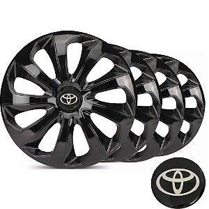 Jogo calotas esportivas Elitte Velox Black aro 15 emblema Toyota - Corolla Etios Hatch Sedan - LC122