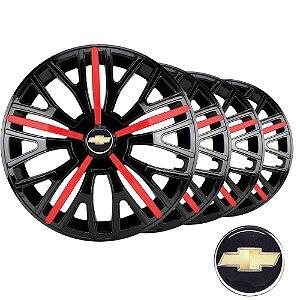 Jogo calotas esportivas Elitte Triton Sport Black Red aro 13 emblema Gm - Corsa Celta Prisma Classic - 3510