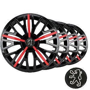 Jogo calota esportiva Elitte Triton Sport Red Black aro 14 emblema Peugeot - 206 207 208 307 - 4510