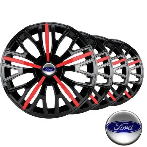 Jogo calota esportiva Elitte Triton Sport Red Black aro 14 emblema Ford - Fiesta Ka Courier Escort Focus - 4510