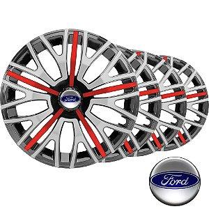 Jogo calota esportiva Elitte Triton Sport Red Silver aro 13 emblema Ford - Fiesta Ka Courier Focus Escort - 3503