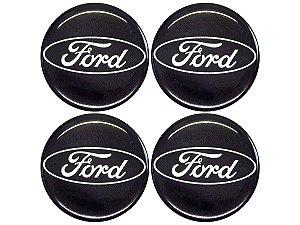 Cartela Com 4 Emblemas Resinados 48mm Para Calota De Roda - Ford Preto
