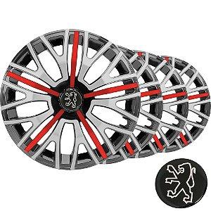 Jogo calota esportiva Elitte Triton Sport Red Silver aro 14 emblema Peugeot - 206 207 208 307 - 4503
