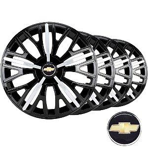 Jogo calota esportiva Elitte Triton Sport Black Silver aro 13 emblema Chevrolet - Corsa Prisma Celta Classic - 3508