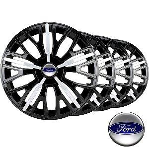 Jogo calota esportiva Elitte Triton Sport Black Silver aro 13 emblema Ford - Fiesta Ka Escort Courier Focus - 3508