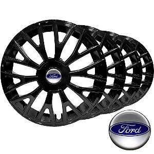 Jogo calota esportiva Elitte Triton Black aro 14 emblema Ford - Fiesta Ka Courier Escort Focus - LC322