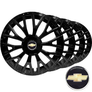 Jogo calota esportiva Elitte Triton Black aro 14 emblema Gm - Onix Corsa Celta Prisma Classic Montana - LC322