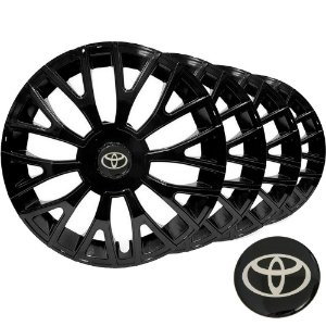 Jogo calota esportiva Elitte Triton Black aro 14 emblema Toyota - Corolla Etios Hatch Sedan - LC322