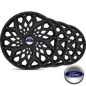 Jogo Calota Esportiva Aro 14 Moove Black Fosc Emblema Ford - Fiesta Ka Escort Courier Focus - LC158