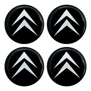 Cartela com 4 emblemas resinados 48mm para calota de roda - Citroen