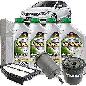 Kit Revisão Troca De Oleo 0W20 E Filtros Ar Oleo Combustivel Cabine Honda Civic 2013 2014 2015 2016