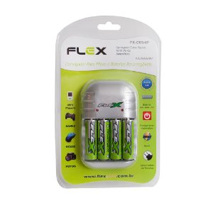 CARREGADOR PILHAS COM 4 AA 2900MAH FLEX FX-C03/4P