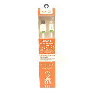 CABO USB IPHONE LIGHTNING 2M KAIDI KD-327A BRANCO 648301