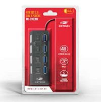 HUB USB 3.0 4 PORTAS C/ CHAVE C3TECH HU-S300BK PRETO