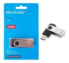 PEN DRIVE 64GB USB 2.0 MULTILASER PRETO PD590