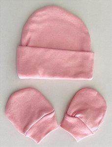 Touca+Par de Luvinhas RN Material 100% algodão em malha suedine. Medidas: 18cm ALT.(se/ aba dobrada) por 15 cm ROSA