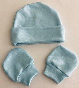 Touca+Par de Luvinhas RNMaterial 100% algodão em malha suedine. Medidas: 18cm ALT.(se/ aba dobrada) por 15 cm AZUL