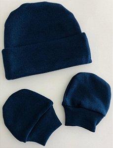 Touca+Par de Luvinhas RNMaterial 100% algodão em malha suedine. Medidas: 18cm ALT.(se/ aba dobrada) por 15 cm MARINHO