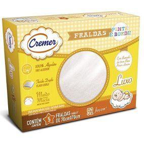 Fralda Cremer Pinte e Borde BRANCA caixa com 5 unidades