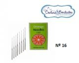 AGULHA ORANGE PARA MÁQUINA DE COSTURA E BORDADOS Nº16