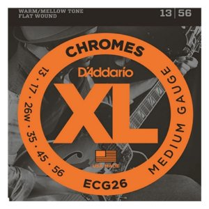 Encordoamento de Guitarra D'addario Chromes ECG 26 0.13 - FLAT WOUND