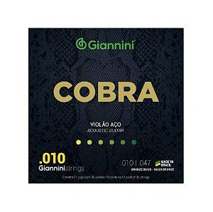 Encordoamento Violão Aço Giannini 0.10 Bronze 80/20