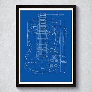 Quadro A4 Decorativo Personalizado - Patente Gibson SG