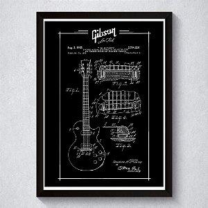 Quadro A3 Decorativo Personalizado - Patente Gibson (Bk)