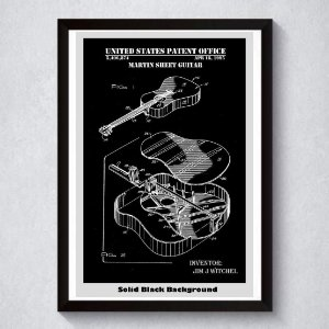 Quadro A4 Decorativo Personalizado - Patente Violão Jim