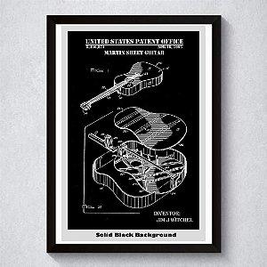 Quadro A3 Decorativo Personalizado - Patente Violão Jim