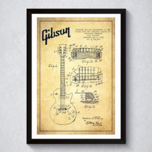 Quadro A3 Decorativo Personalizado - Patente Gibson LP