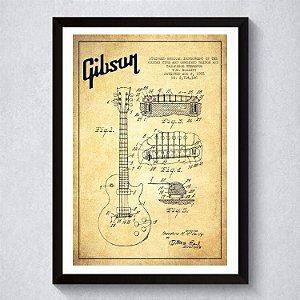 Quadro A4 Decorativo Personalizado - Patente Gibson LP
