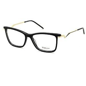Óculos Armação Hickmann HI6100L A01 Preto/ Dourado Acetato