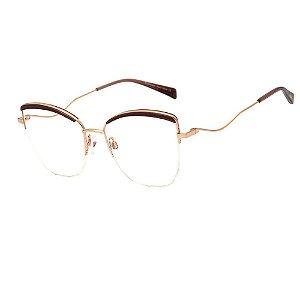 Óculos Armação Hickmann HI1095 04A Dourado com Marrom Metal