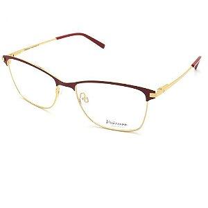 Óculos Armação HI1060 07A Vermelho com Dourado Metal
